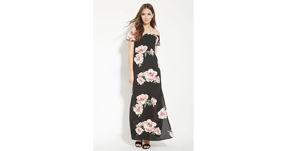 666e92c586b Forever 21 Contemporary Floral Maxi Dress in Black - Lyst