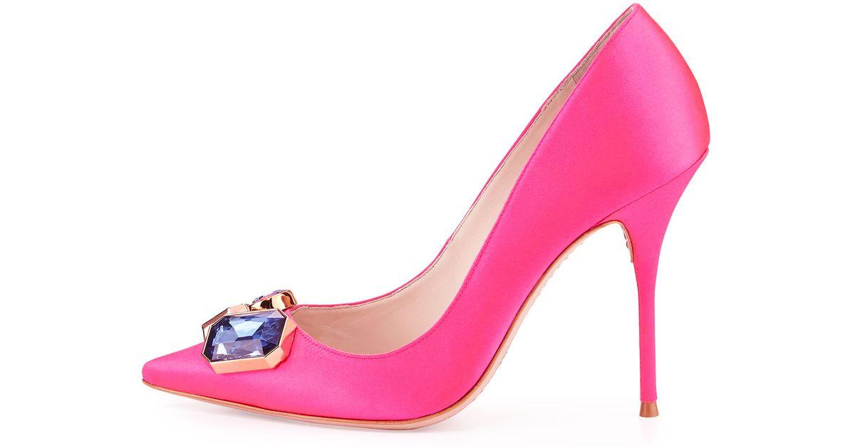 af2e7c0bfd3 Sophia Webster Pink Lola Gem Satin Pumps