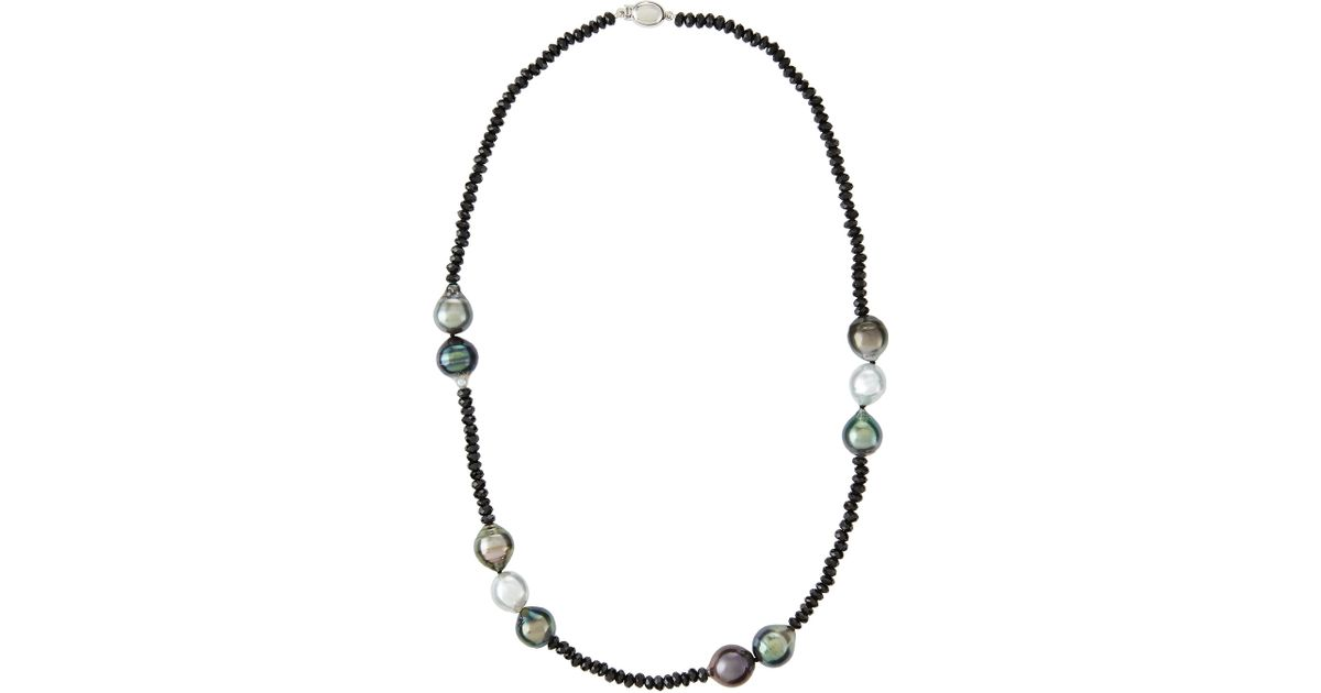 9688f73fb16b6 Belpearl White Tahitian Pearl & Black Spinel Necklace