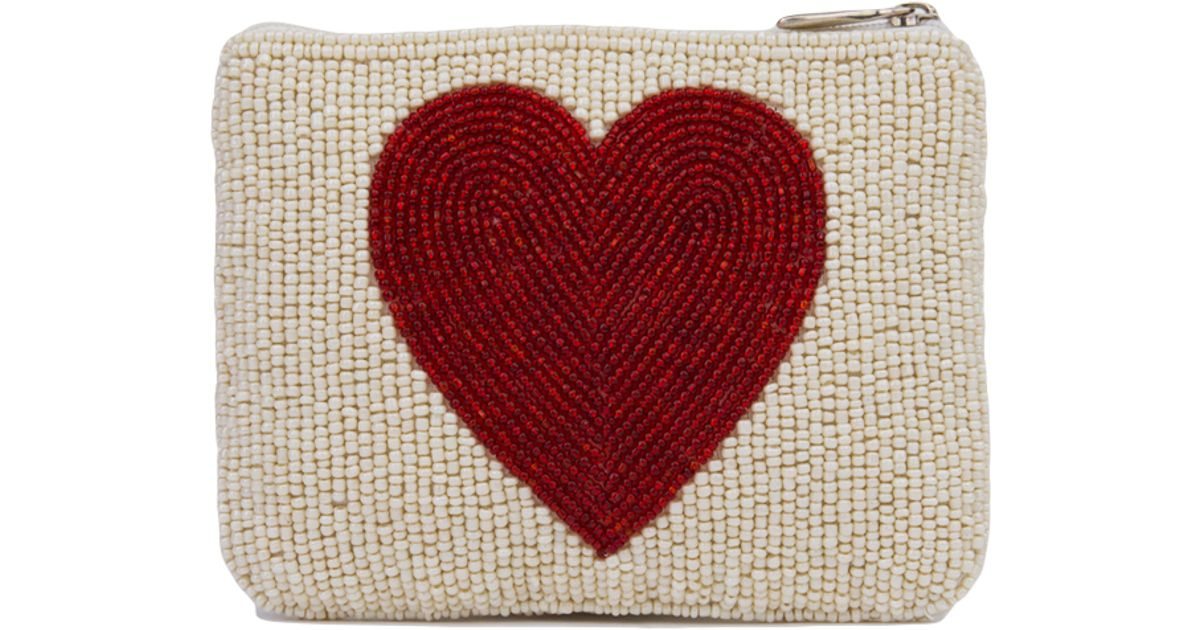 Akira Black Label Natural Letter M & Heart Seed Bead Zip Wallet