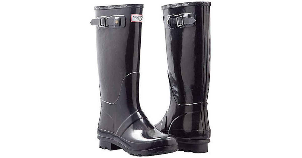 Forever Young Rubber Glossy Tall Rain Boots In Black Lyst