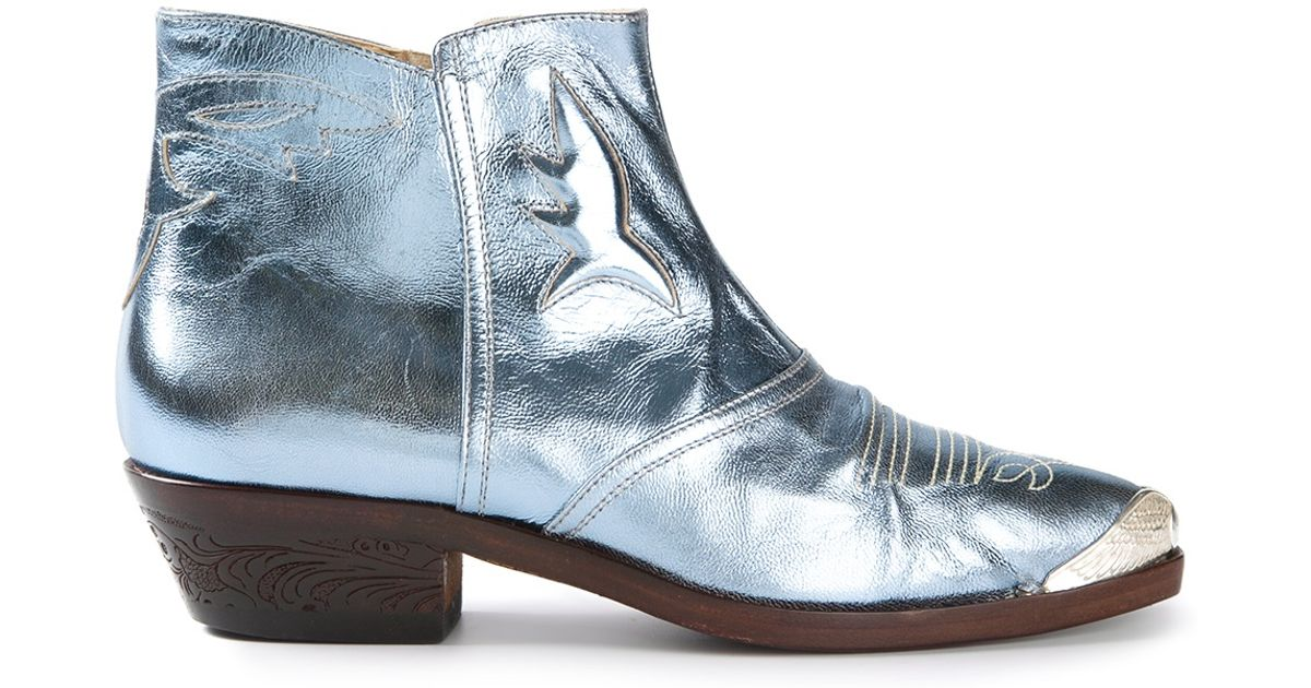 Golden goose deluxe brand \'Thelma\' Ankle Boots in Blue | Lyst