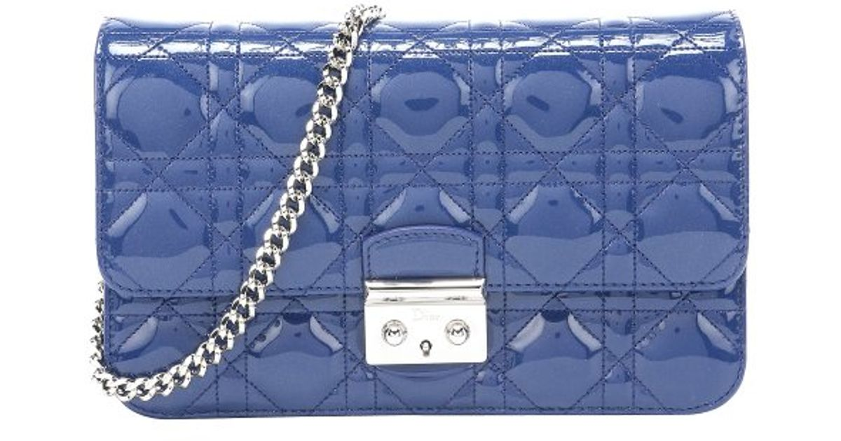 8fdb811282fb Dior Blue Cannage Patent Leather  miss Dior  Convertible Bag in Blue - Lyst