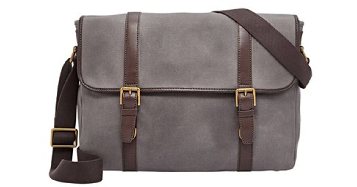 b1564c9dcd Fossil 'estate' Twill & Leather Messenger Bag in Gray for Men - Lyst