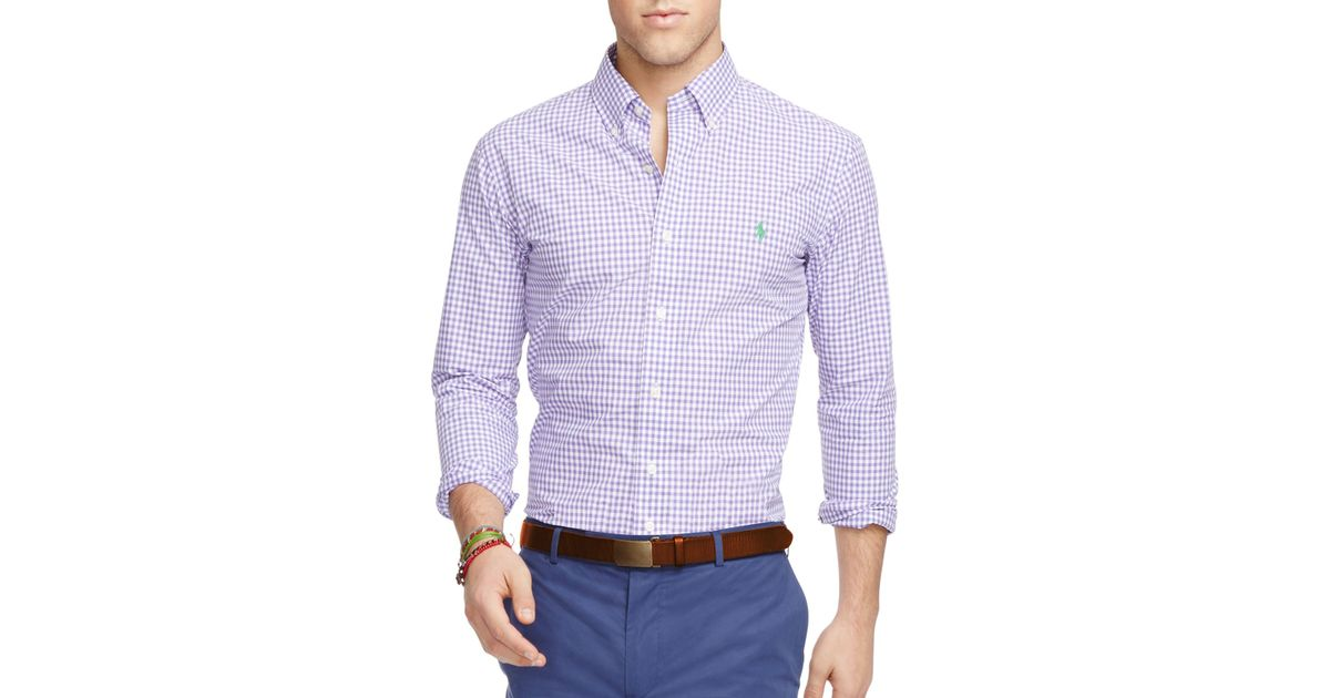 Polo ralph lauren gingham slim fit button down shirt in for Men s purple gingham shirt