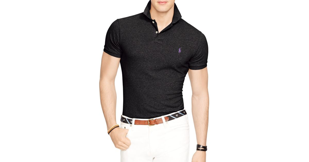 Ralph Lauren Black Polo Slim-fit Mesh Polo Shirt for men