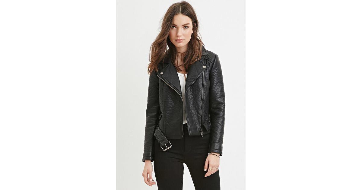 18f8f3b7247 Lyst - Forever 21 Faux Leather Moto Jacket in Black