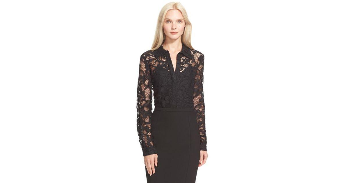 dd061f3a41766 Diane von Furstenberg 'lorelei Two' Sheer Lace Shirt in Black - Lyst