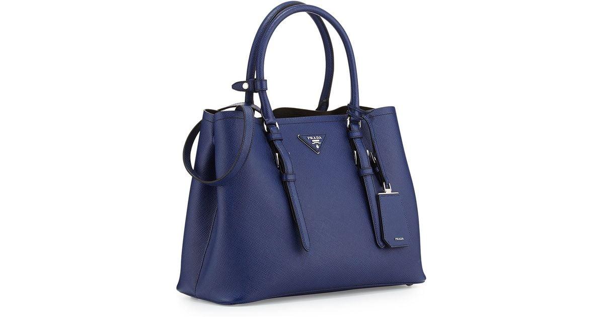 92b0ed34e98eb1 ... uk lyst prada saffiano cuir covered strap double bag in blue ef53d a4bb2