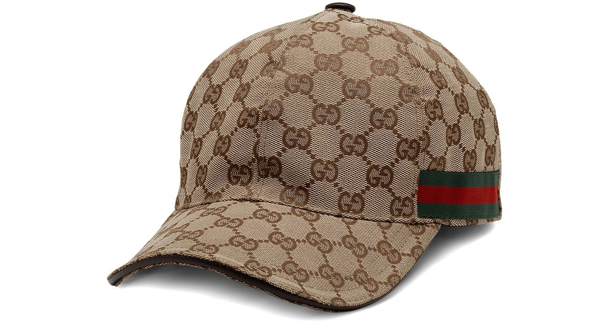 b64ba5b0482 ... 9315c 9717b Lyst - Gucci Canvas Baseball Hat in Brown for Men pre order  ...
