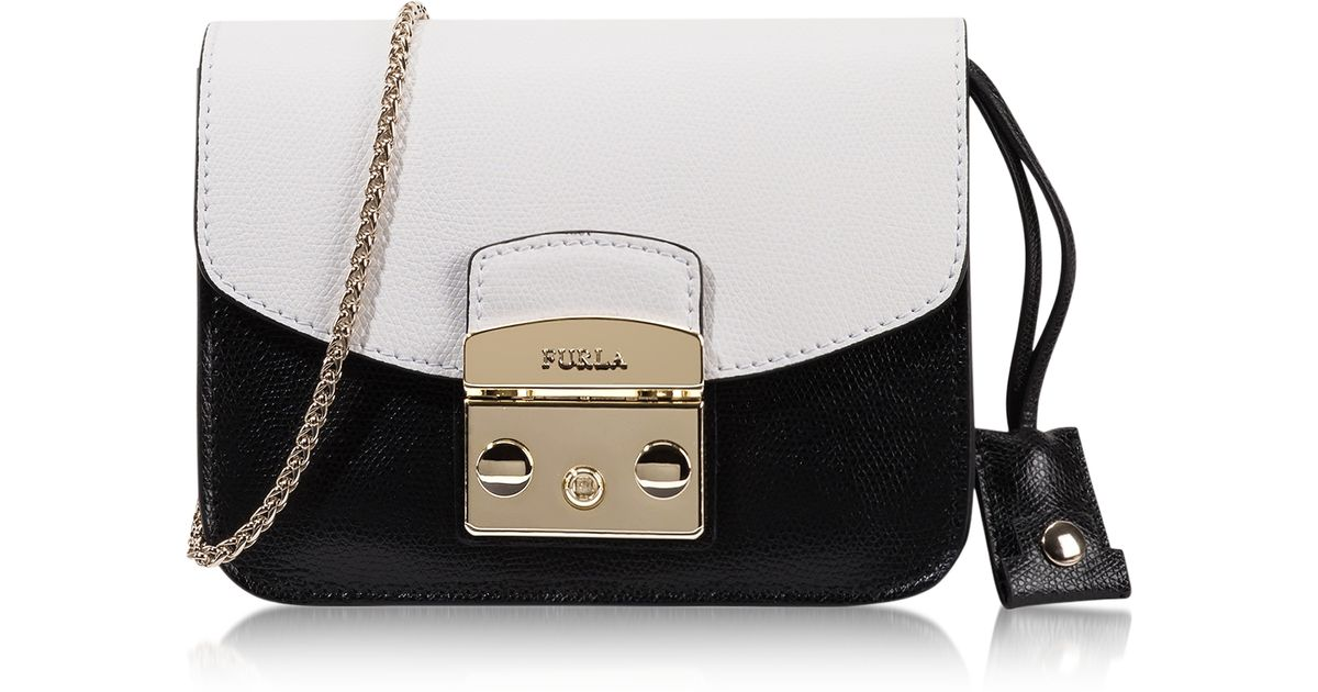 e5b38967225 Lyst - Furla Metropolis Chalk   Onyx Leather Mini Crossbody Bag in White