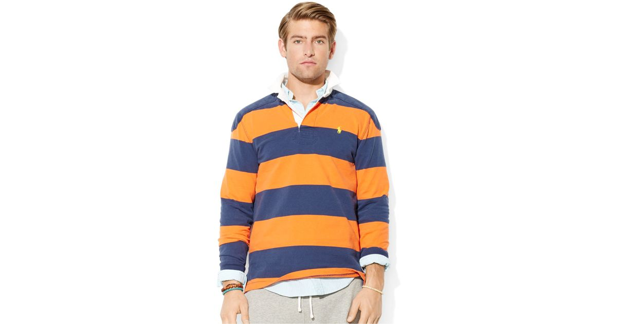 Polo Ralph Lauren Striped Rugby Shirt In French Navy