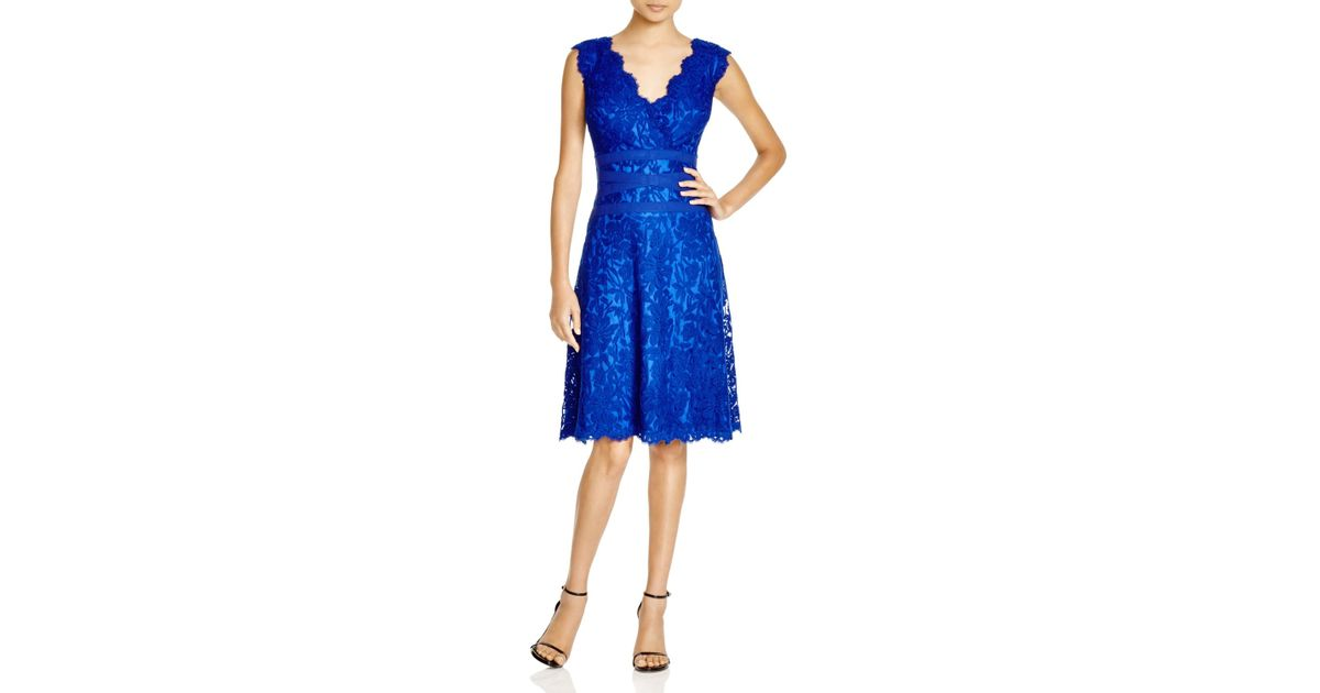 Lyst - Tadashi Shoji Double V-neck Embroidered Lace Dress in Blue