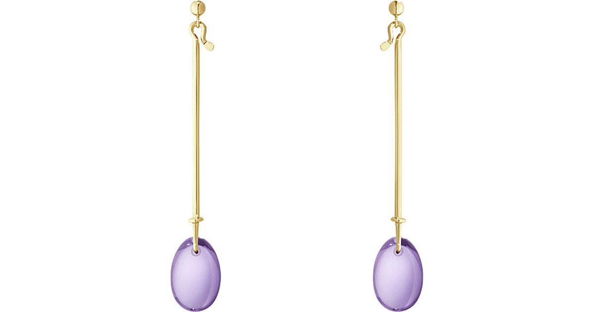 fc6c5e61c Georg Jensen Dew Drop 18kt Yellow Gold And Amethyst Earrings in Purple -  Lyst