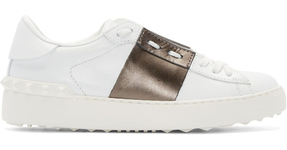 0a391f9ed7084 Valentino Open Leather Low-Top Sneakers in White - Lyst