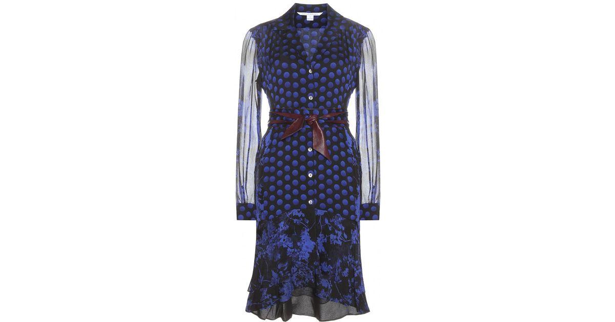 51d3b7c41e8630 Lyst - Diane von Furstenberg Catherine Silk Chiffon Shirt Dress in Blue