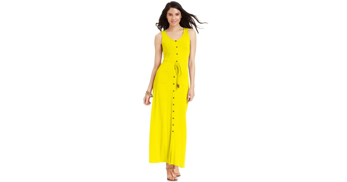 7df2b9a573f1d Spense Petite Sleeveless Buttonfront Belted Maxi Dress in Yellow - Lyst