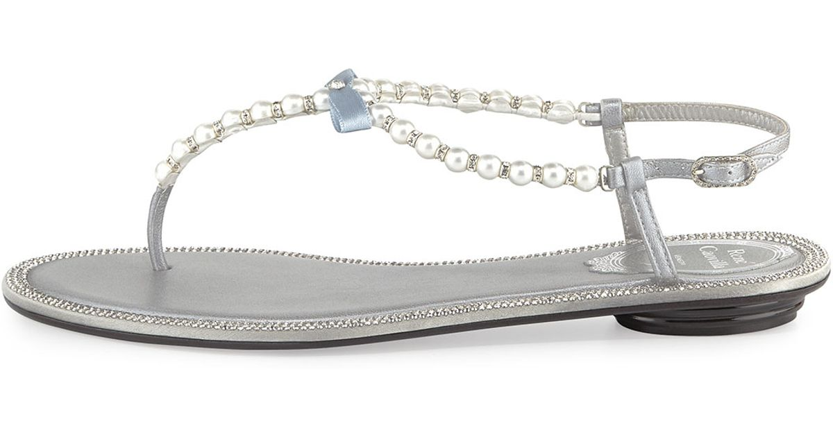 2b9c0ab805c6d2 Lyst - Rene Caovilla Pearly   Crystal Flat Thong Sandal in Metallic