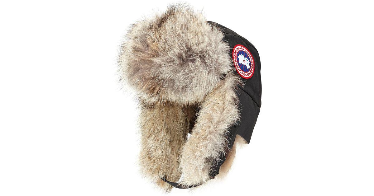 a9faac65a82 Canada goose Coyote-fur Aviator Hat in Black for Men