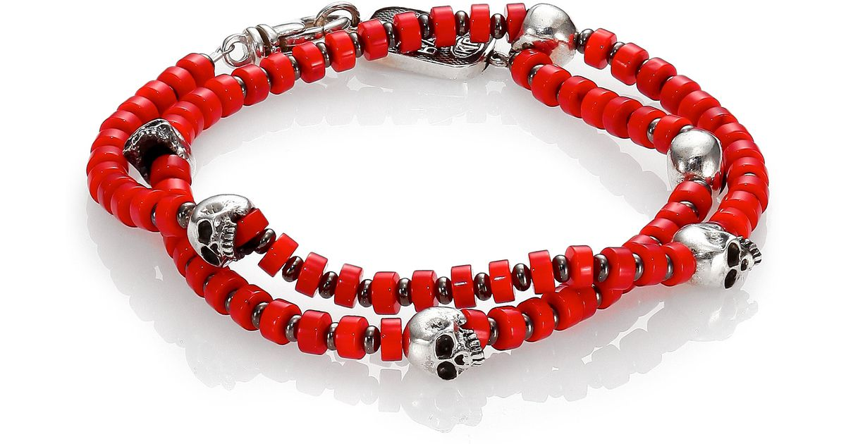 King baby studio red coral sterling silver beaded bracelet for King baby jewelry sale