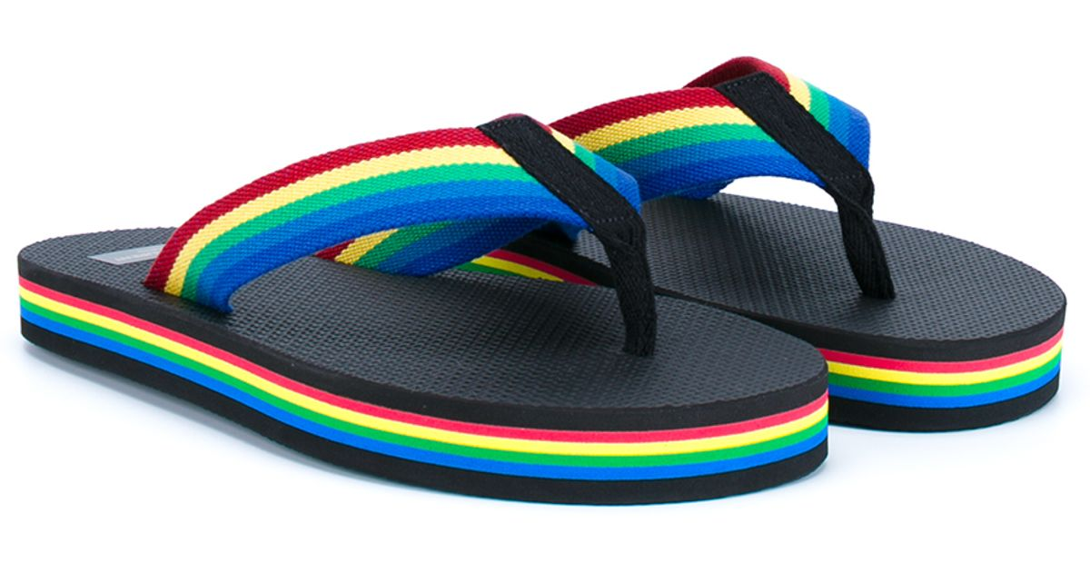 Saint Laurent Rainbow Flip Flops In Black Black Multi