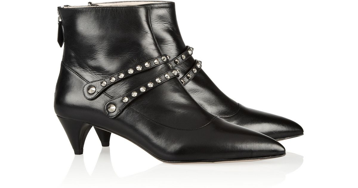 cedd134eb94ba Miu Miu Studded Leather Ankle Boots in Black - Lyst
