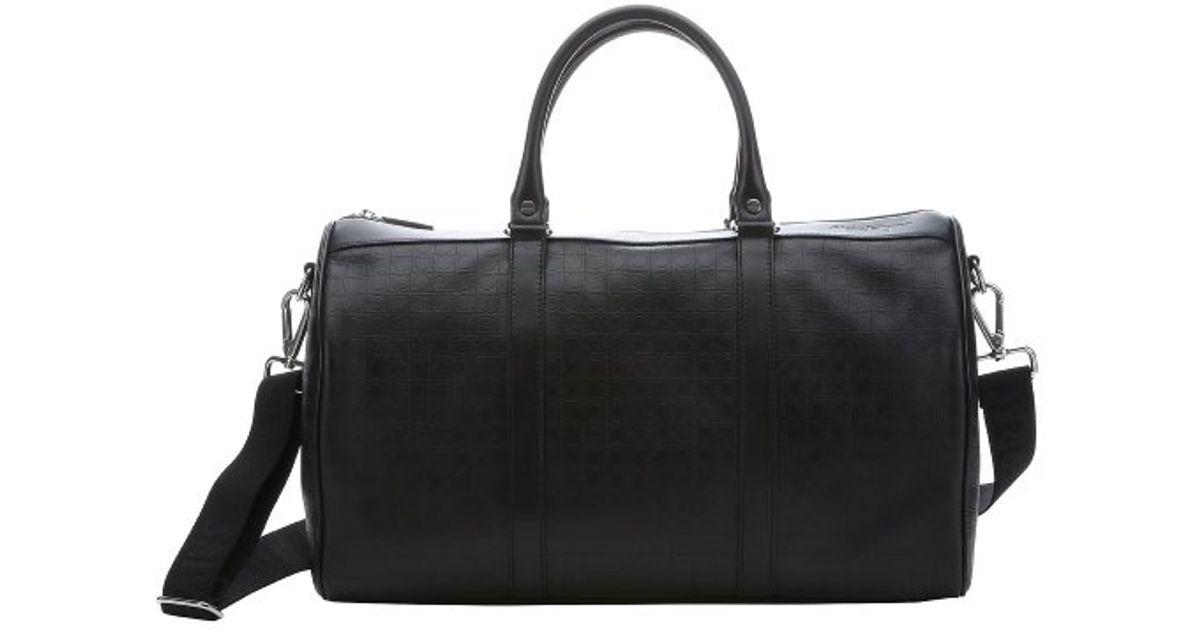 Lyst Ferragamo Black Gancini Embossed Calfskin Small Duffle Bag In For Men