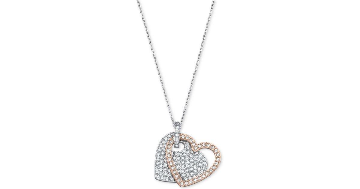 Lyst swarovski two tone crystal pave double heart pendant necklace lyst swarovski two tone crystal pave double heart pendant necklace in metallic mozeypictures Images