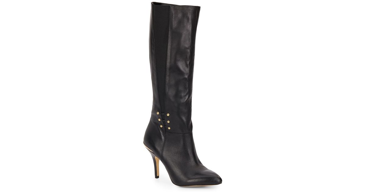 saks fifth avenue haskell knee high boots in black lyst
