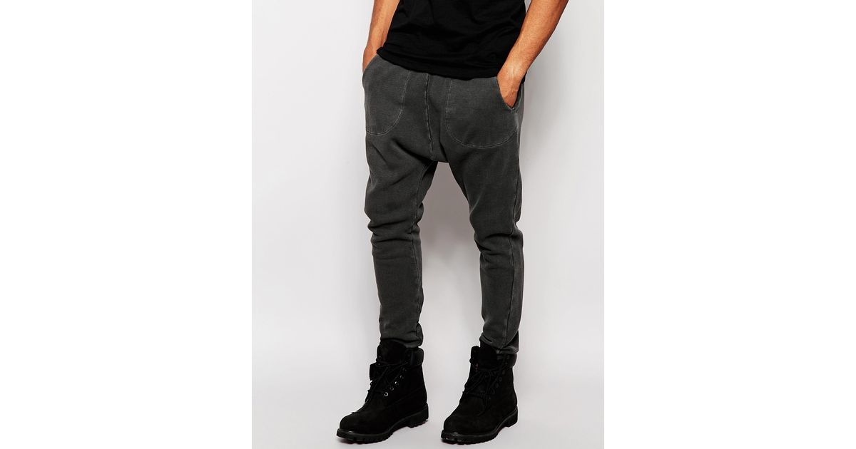 Lyst - Asos Drop Crotch Joggers In Waffle Fabric With Oil Wash in Gray for  Men