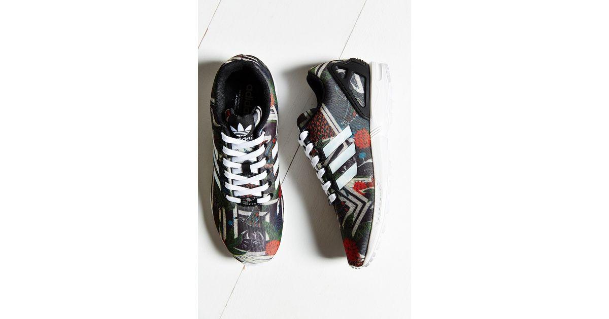 c275147e3 ... cheap lyst adidas originals zx flux jungle print running sneaker in  black c6dda e124e