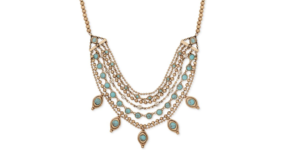 8c4183fbce05e Lucky Brand Blue Gold-tone Turquoise-look Stone Layered Collar Necklace