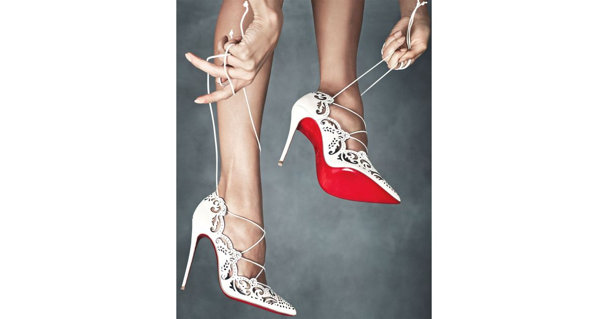 Christian Louboutin Impera Laceup Red Sole Pump White