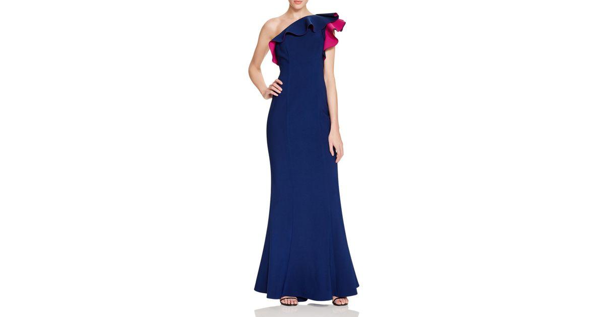 db669bec9fd Maria Bianca Nero One-shoulder Ruffle Gown - Lyst