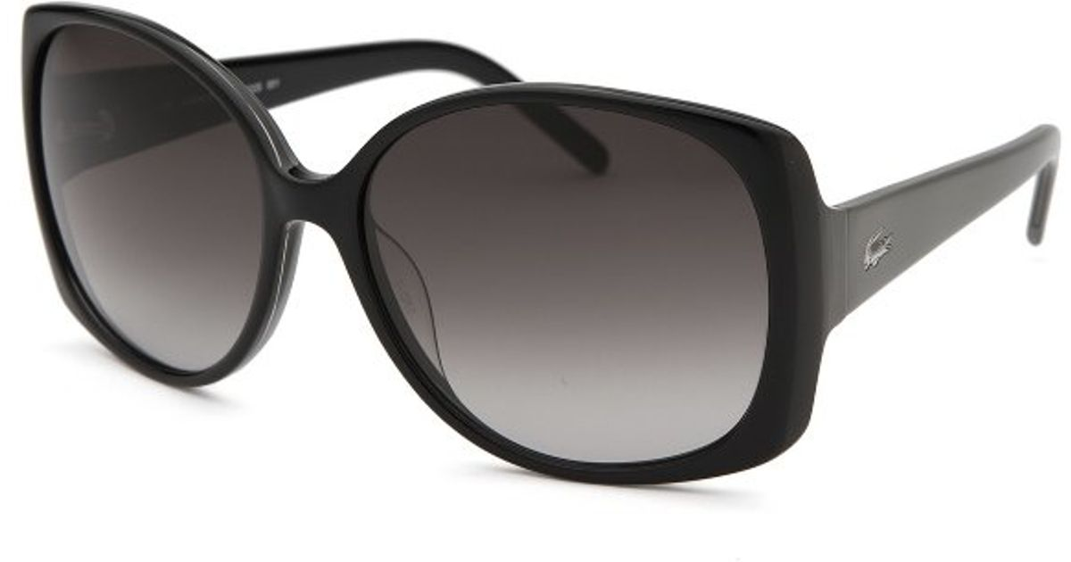 508546eeda0 Lacoste Women s Butterfly Black Sunglasses Grey Gradient Lenses in Black -  Lyst