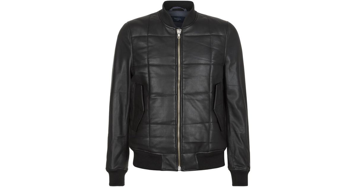 Paul Smith Leather Quilted Bomber Jacket In Black For Men Lyst