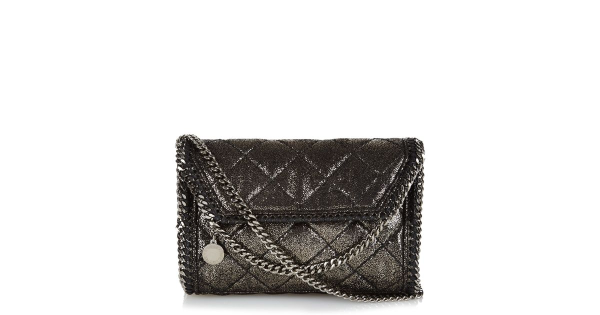 Lyst - Stella McCartney Falabella Quilted Faux-leather Clutch in Black 25ad1a5b23
