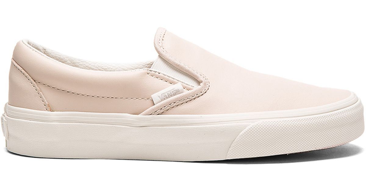 Vans Leather Classic Slip-on in Pink - Lyst