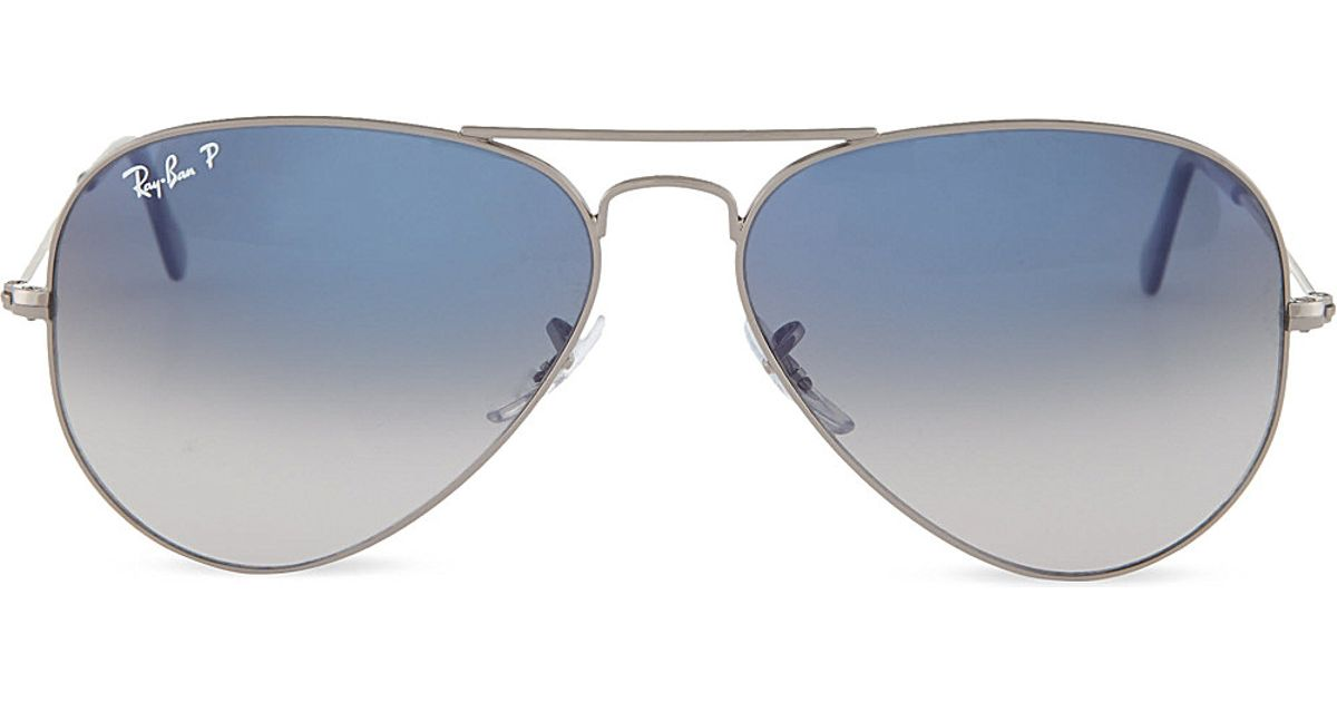 Lyst - Ray-Ban Original Aviator Gunmetal-frame Sunglasses With ...