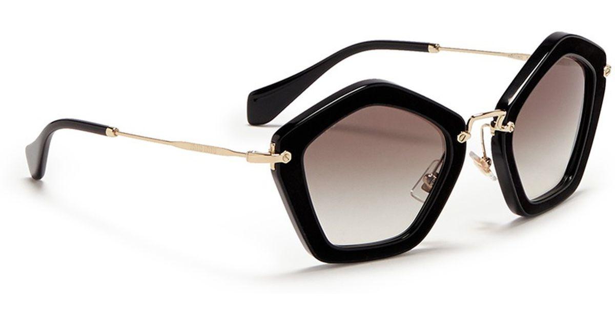 65472d5842a Lyst - Miu Miu  culte  Pentagon Frame Acetate Sunglasses in Black