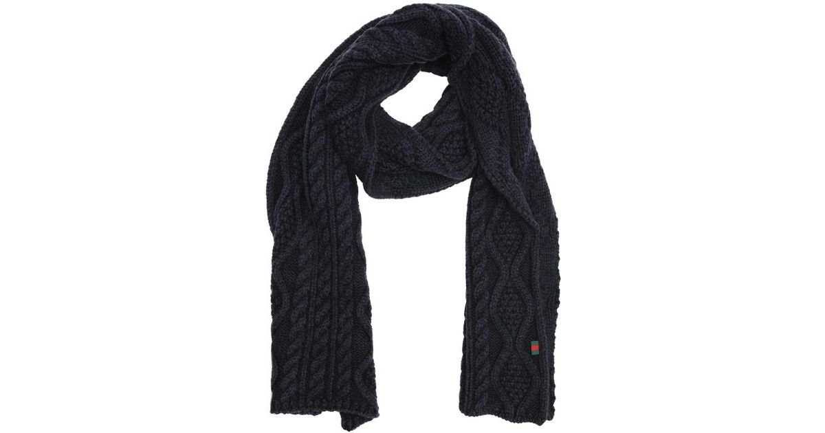 f3125020869 Lyst - Gucci Navy Cable Knit Wool Scarf in Blue for Men