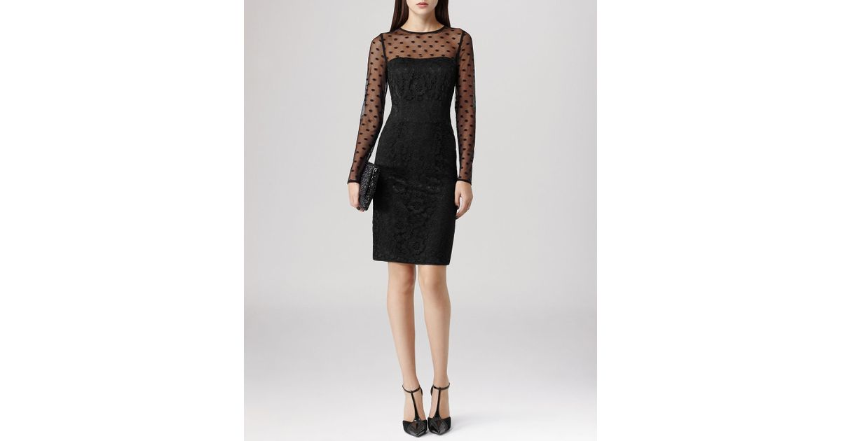 Lyst Reiss Dress Diana Dotted Mesh Lace In Black