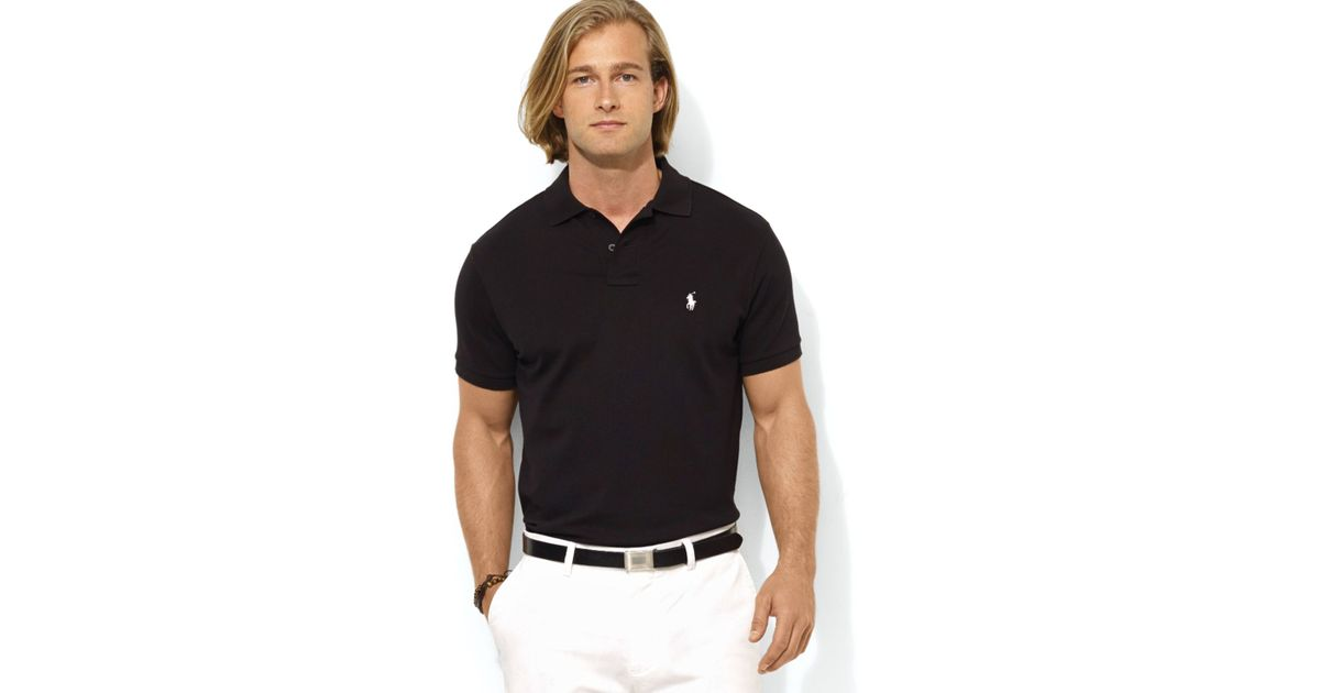 Ralph lauren Polo Custom Stretch-mesh Polo Shirt - Slim Fit in Black for Men