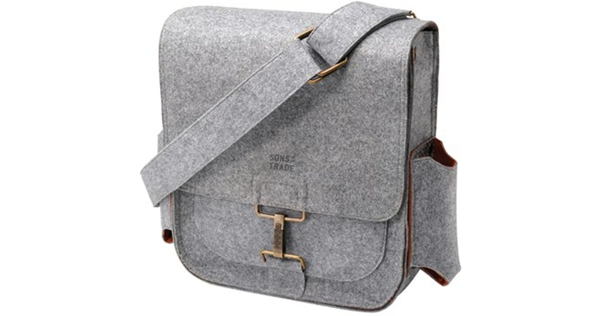 Lyst Sons Of Trade Journey Felt Messenger Bag With Water Resistant Lining In Gray For Men