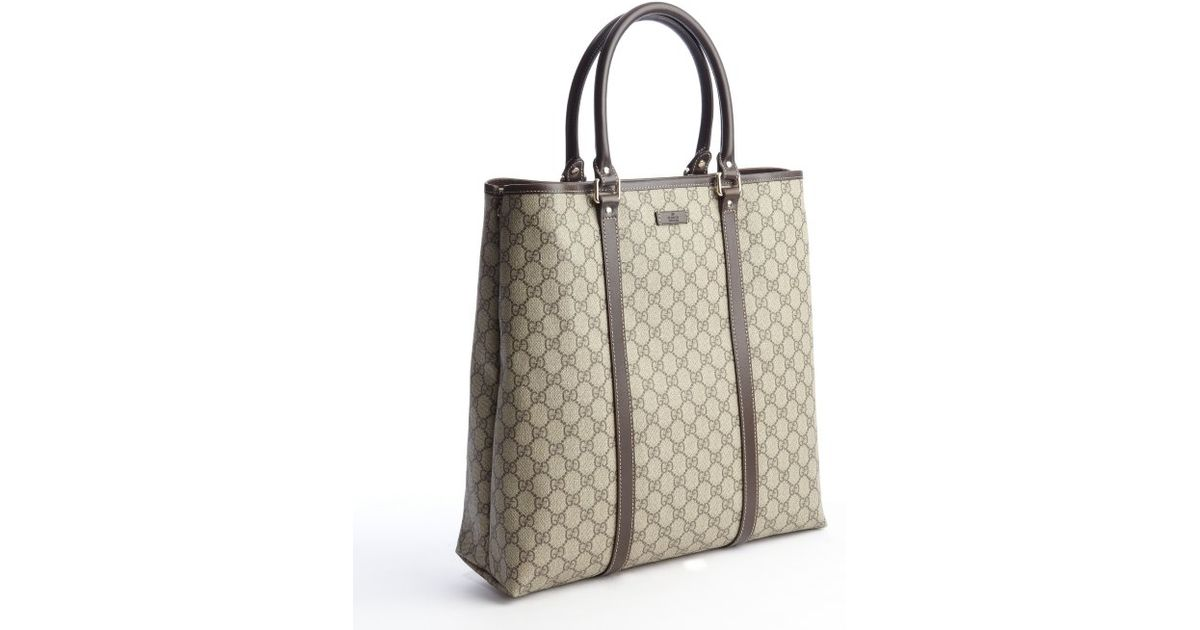 Gucci Beige and Khaki Coated Canvas Tall Tote Bag in Natural | Lyst