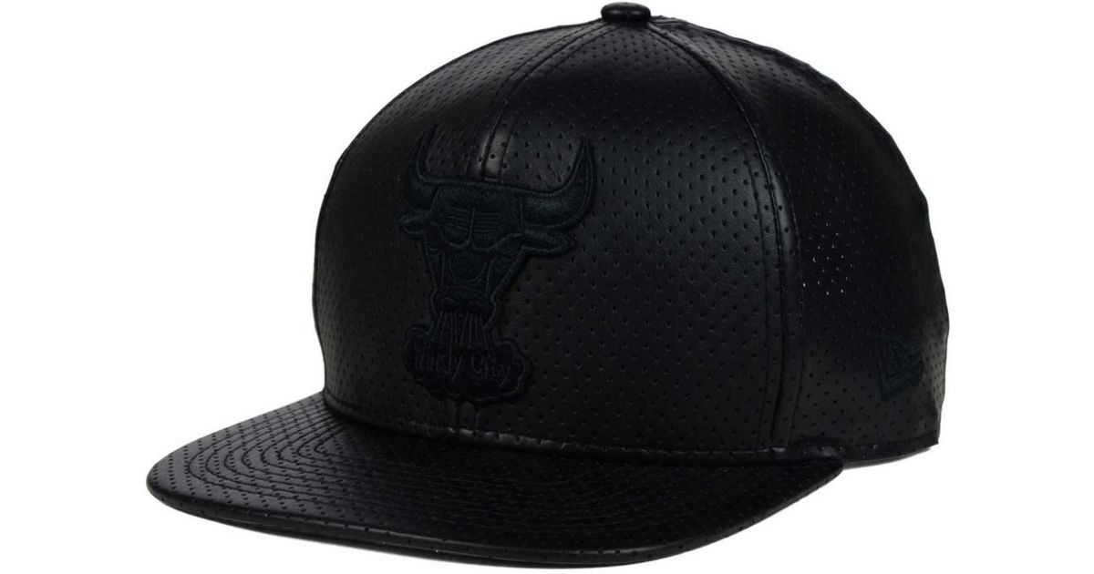 Lyst - KTZ Chicago Bulls Faux Leather 9fifty Snapback Cap in Black for Men 71680b30bde