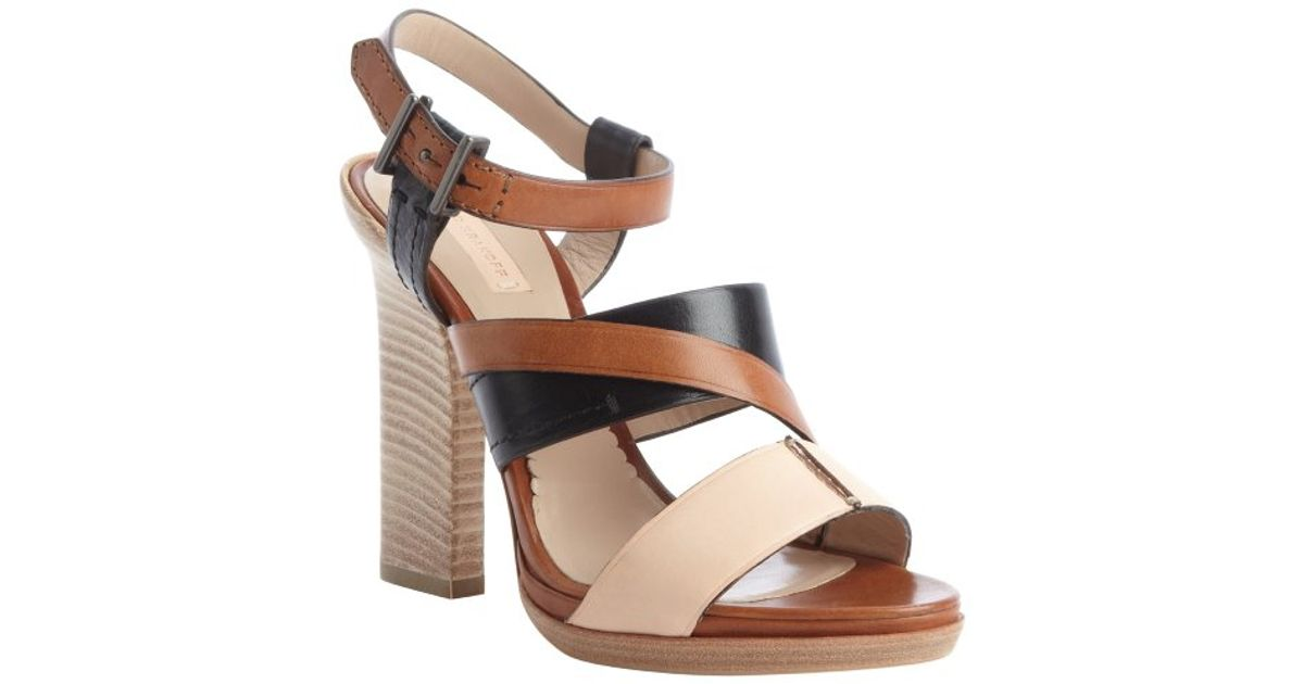Reed Krakoff Tan And Peach And Black Strappy Block Heel
