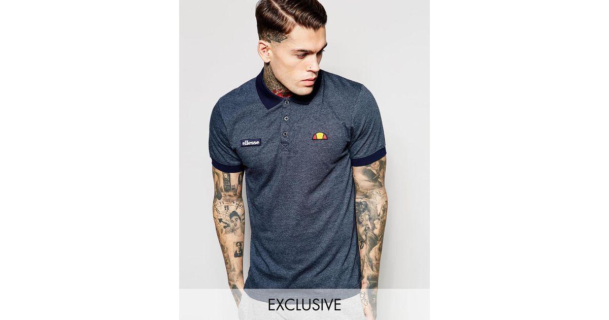 254946551b Ellesse Blue Marl Polo Shirt for men