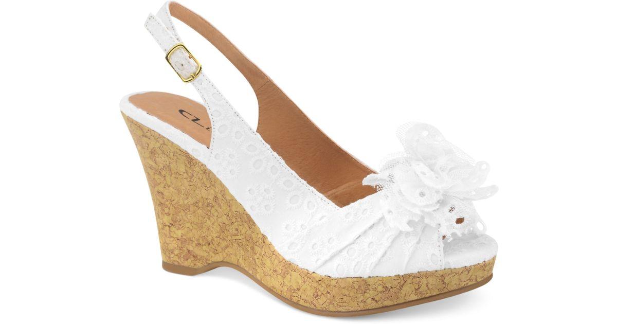 White Eyelet Wedge Shoes