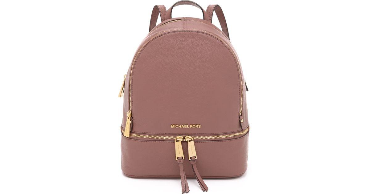 b0a933ec157a MICHAEL Michael Kors Rhea Backpack - Navy in Pink - Lyst